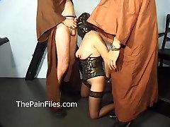 Mature masochist whipped in bondage and slavesex of hardcore