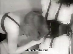 Tied up Brunette Babe in Leather Bonds 1950s Vintage