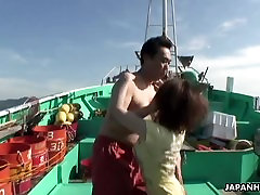 Asian sexy teen sex on a fishing boat