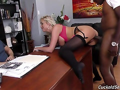 Sexy wife fucks monster black cock in front of cuckold