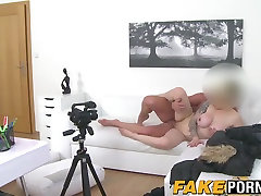 Hot blonde Austrian chick with big tits drilled on the couch
