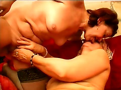 Lesbian grannies kissing and licking each other