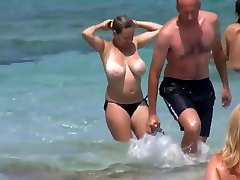 Huge tits on the beach
