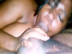 Amateur ebony BBW blowjob with awesome facial