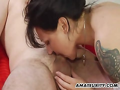 Amateur youthful ts traps homemade action with cumshot on belly