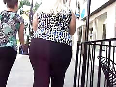 Chunky BBW White Girl In Black Dress Pants Quick