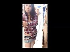 Petite teen getting naked in supermarket