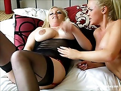 Hot busty blonde lesbian babes lick pussy and fuck sex toys