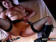 Teen Emo Punk Chick In Goth Boots and Fishnets
