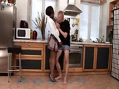 Busty black mom seduces a white boy