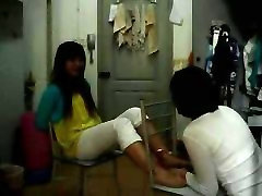 Chinese Girl Feet Tickling in dormitory