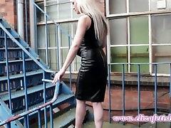 Blonde Leather Mistress Smoking