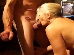 Old blonde wife drinks sperm