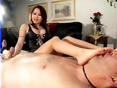 Asian mistress feet smelling handjob and footjob