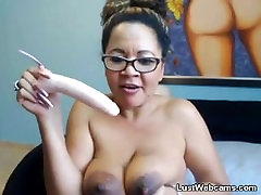 Mature latina deepthroats dildo on webcam