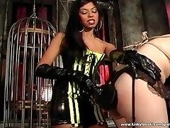 Black whore dominates big boobed redhead slut