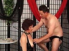 Tied mature whore sucks big cock