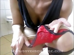 Milf tasting her cum from dirty panties