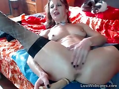 Horny MILF squirts on webcam