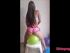 SEXY LATINA BLONDE WITH BIG BOOTY SIT TO POP BALLOONS IN PINK PANTY