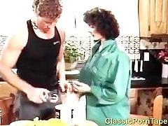 Retro Kitchen Blowjob From Brunette