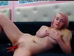 Blonde Hottie With Big Natural Boobs Dildo Fun