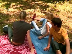 young threesome bisex orgy outdoor