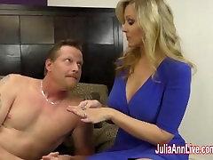 Busty Milf Julia Ann Jacks Him Off With Fake Pussy!