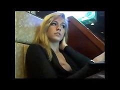 Hot Blonde public flashing in bar on webcam
