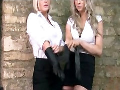Busty blonde bombshells put on sexy leather gloves to caress juicy big tits