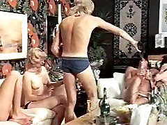 Vintage group fun with piss and champagne