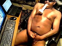 black stud sucking whit toy dick