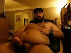 Big belly bear Jerks off & Cums
