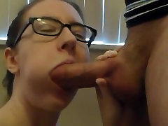Cute nerd with glasses sucks and deepthroats on my thick cock