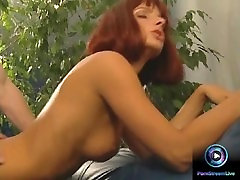 Redhead pinup love the taste of the young studs cock