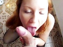 Redhead Russian Teen Sucking Huge Cock while Self-Masturbating in Lingerie