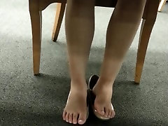 Candid Japanese Girl Sweaty Flats Shoeplay At The Library