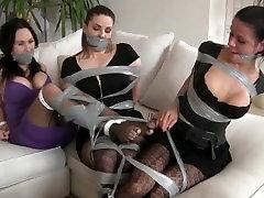 Tape Bondage filled Day for Angelina, Elyssia, and Lavinia