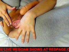 Latina Teen Webcam Show creamy dildo fuck and pierced pussy cum