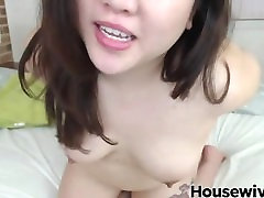 Chubby asian girl with cute smile and small tits