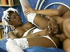 Perfect XXX busty ebony Coco Brown wedding night threesome