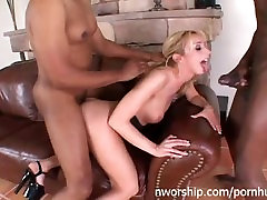 sexy blond milf is full of cocks fucked hard interrasial threesome anal