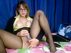 The teacher in torn stockings gets real orgasm while watching hentai Full