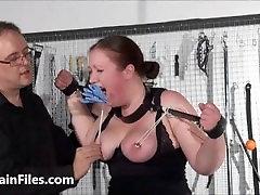 Bbw slave RosieB tit tortured and sadistic amateur soooo sexy of fat masochist