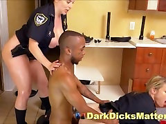Horny Policewomen Suck & Fuck Criminal With Big Black Weapon