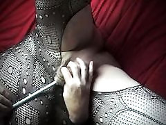 tranny shemale in pantyhose lingerie of cock toy sounding urethral
