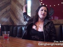Gangbang Creampie blonde eats creampies from
