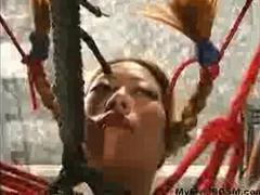 Beautiful Blonde Asian Bondage Babe Is Restrained And Strung Up By Her Master bdsm bondage slave femdom domination