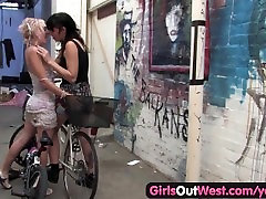 Girls Out West - Hairy lesbian beavers licked and rubbed