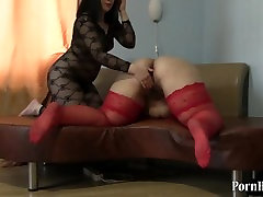 Brunette fucks hand, plump with big ass, fisting